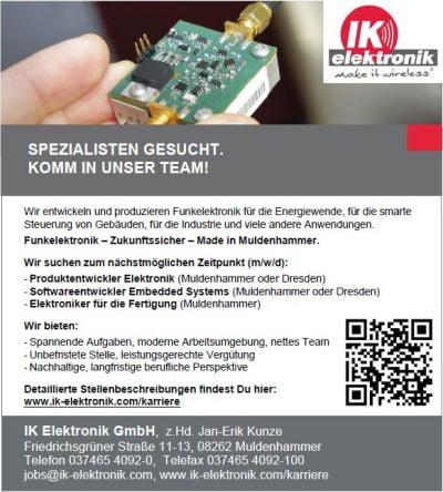 Spezialisten gesucht - Aktuelle Stellen bei IK Elektronik.